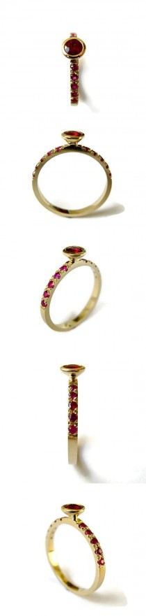 wedding photo - Unique Ruby Ring, Yellow Gold Ring With Rubies, Delicate Engagement Ring, 14k Gold Ring And Ruby, For Woman
