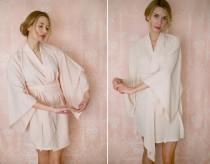 "wedding photo - One ""Noguchi"" kimono robe in faux silk crepe de chine. Faux silk kimono robe Champagne kimono robe Bridal lingerie Bridal robe Bridal kimono"