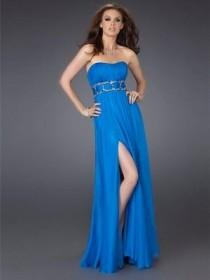 wedding photo - Elegant Blue Strapless Tube Top Evening Dress - Charming Wedding Party Dresses