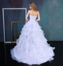 wedding photo - Ruffles Beading Sweetheart Organza Wedding Dress
