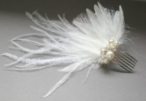 wedding photo - CRAZY SALE  Bridal Ostrich Feather Comb... Fascinator .. Chic Prom  Elegant Evening Wear. Holiday.