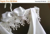 wedding photo - ON SALE Bridal Satin Padded Hanger ... Victorian Style Hand Made. Venice Rose Lace. Elegant Vogue Modern Bride. Bride Fashion Hanger