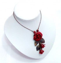 wedding photo - Red Pendant, Rose Pendant necklace, Leaf necklace, Leaf pendant, Flower necklace, Costume jewelry, Flower jewelry, Rose