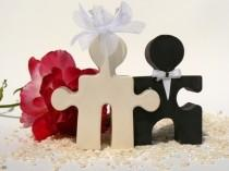 wedding photo - Salt and Pepper Puzzle People Wedding Cake Topper