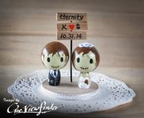 wedding photo - Customise Wedding Cake Topper with Sign Board - zombie. monster, creature, halloween
