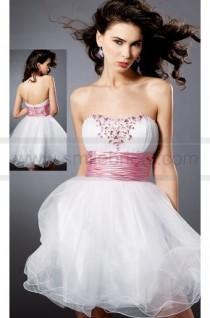 wedding photo - Strapless Beaded Organza Cocktail Dress - 2016 New Cocktail Dresses - Party Dresses