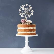 wedding photo - Personalised Floral Couples Wooden Wedding Cake Topper
