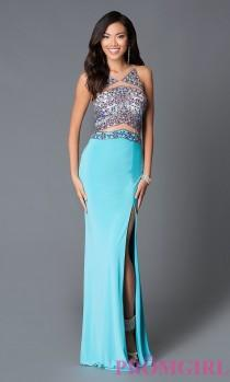wedding photo - Sleeveless Aqua Blue Jersey Prom Dress from JVN by Jovani - Discount Evening Dresses