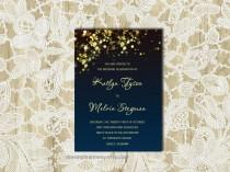 wedding photo - Navy Wedding Invitation Template, Gold Sparkles, Printable Wedding Invitation Design, Wedding Invite, Instant Download, Word, S-007