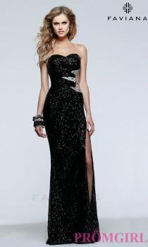 wedding photo - Long Strapless Sweetheart Sequin Dress by Faviana - Brand Prom Dresses