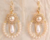 wedding photo - Bridal Pearl Chandelier Earrings Row Of Ivory Pearls Bridal Earrings Gold Weddings Earrings Victorian Statement Earrings Rhinestone Crystals