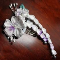 wedding photo - Lilac Cherry Blossoms kanzashi on Comb. My Romance. Made to Order