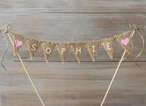 wedding photo - Custom Burlap Cake Banner Topper-Wedding Burlap Cake Banner-1st birthday Cake Banner