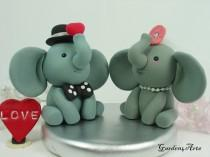 wedding photo - Custom Elephant Love Wedding cake topper/ Groom hold a Sweet Red Heart with circle clear base