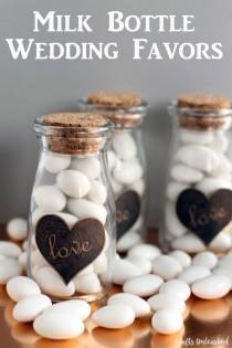 wedding photo - DIY Milk Bottle Wedding Favors - Crafts Unleashed