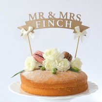 wedding photo - Rustic Paper Wedding Cake Toppers Design Custom Last Name Party Decorations-in Event & Party Supplies From Home & Garden On Aliexpress.com