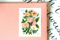 wedding photo - 10 UNused Vintage Stamps Vintage Coral Flower Bouquet Postage Stamps For Wedding Invitations // Save The Date // Cards