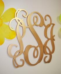 wedding photo - 24 inch PAINTED Wooden Monogram Letters, wood monogram, guest book, GOLD paint