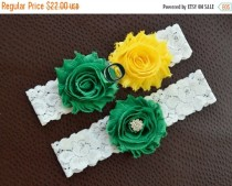 wedding photo - ON SALE Oregon Ducks Wedding Garter Set, Oregon Ducks Bridal Garter Set, Oregon Garter, White Lace Wedding Garter, University of Oregon Gart