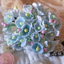 wedding photo - Shabby Cottage French Style Forget Me Not Millinery Vintage Flowers - Pastel Blue
