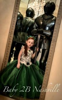 wedding photo - Flower Girl Dress Emerald Green Dress  Princess Costume  Wedding Flower Girl Tutu Dress   All Sizes Girls