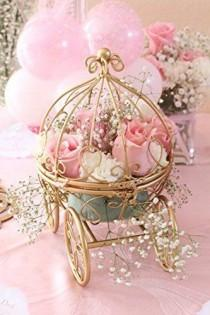 wedding photo - Inspired By Disney's Fairytale Wedding Cinderella's Carriage Coah Pumpkin Table Centerpiece