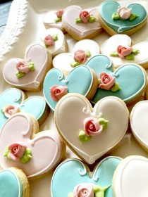 wedding photo - 24 Pcs. Assorted Color Heart Cookie Favor- Wedding Favors, Bridal Showers, Bridemaids Gifts, Baby Showers