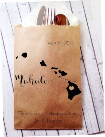 wedding photo - Hawaiian Mahalo Wedding Favor Bags, Destination Wedding Bridal Favors, Packs Of 25