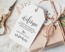 wedding photo - Welcome Tag, Wedding Welcome Bag Tag, Wedding Welcome Gift Tags, Welcome Tags, Welcome Bag Tag, Favor, PDF Instant Download