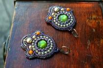 wedding photo - Purple green bead embroidery earrings Bead embroidered Dangle earrings Holiday Beadwork statement earring Beaded embroidered Gift for mom