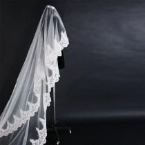 wedding photo - Cathedral alencon lace wedding veil, white or diamond white, 9 feet long, elegant, vintage