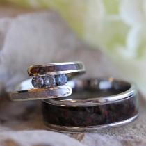 wedding photo - Unique Bridal Set with Meteorite and Dinosaur Bone, Alexandrite Engagement Ring, Dinosaur Bone Wedding Band