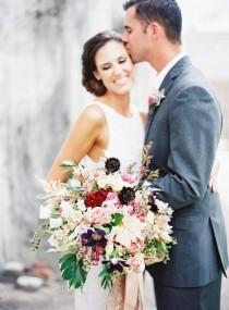 wedding photo - Floral Opulence Styled Shoot In Crimson And Plum