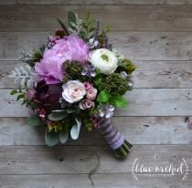 wedding photo - Boho Wedding Bouquet - Purple, Lavender, Peonies, Ranunculus, Statice, Berries, Bouquet with Accents, Wildflower Bouquet, Boho Wedding