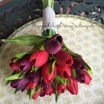 wedding photo - Tulip Bouquet - Tulip Bridal Bouquet - True Touch Tulip Bridal Bouquet - True Touch Tulips - Purple Red Tulips - Fall Bouque