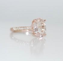 wedding photo - Blake Lively Ring White Sapphire Engagement Ring Oval Cut 14k Rose Gold Diamond Ring 3.02ct White Sapphire Ring
