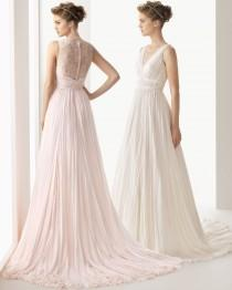 wedding photo - Elegant A-line Straps V-neck Buttons Lace Sweep/Brush Train Chiffon Wedding Dresses - Elegant Evening Dresses