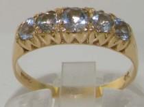 wedding photo - 9K Yellow Gold Genuine Natural Five Aquamarine Zig Zag Side Vintage Design Half Eternity Ring - Made in England -Customizable