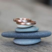 wedding photo - 14k Rose Gold Wedding Band Set, Rose Gold Bands for Men and Women, Simple Comfort fit Commitment Rings