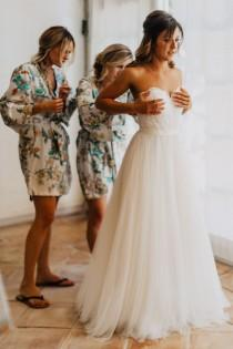 wedding photo - Destination Wedding At French Chateau With Bride In Wtoo By Watters Bridesmaids In Pretty Plum Sugar Robes And Photography By Phan Tien