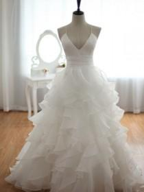 wedding photo - V-neck Empire Waist Draping Wedding Dress ,bridal Gown From SheDress