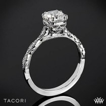wedding photo - 18k White Gold Tacori 57-2CU Sculpted Crescent Elevated Crown For Cushion Diamond Engagement Ring