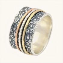 wedding photo - Free Shipping, Spinner Ring for women, Leaf Spinner Ring, Meditation Ring, Fidget Ring, Worry Ring, Triple Spinner Ring, anxiety ring