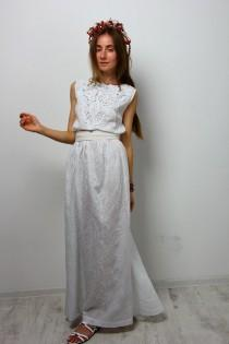 wedding photo - Maxi dress evening white dress crochet split sundress cotton cocktail long dress floor  sleeveless sundress wedding maxi dress bridal dress