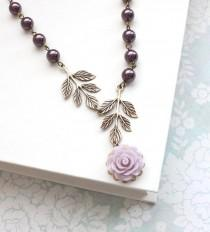 wedding photo - Bridesmaids Jewelry Purple Pearl Necklace Mauve Rose Pendant Antique Brass Branch Nature Bridal Accessories Floral Maid of Honor Gift