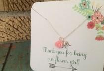 wedding photo - Personalized Flower Girl Necklace, Flower Girl Gift, Light Pink Flower Girl Necklace, Flower Girl Gift, Wedding Jewelry, Sterling Silver