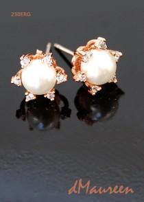 wedding photo - WHITE Bridal Pearls 250ERG. White Pearl Earrings. CZ Rose Gold Earrings. Pearl Bridal Earrings. White Wedding Pearls. Bridesmaid Earrings