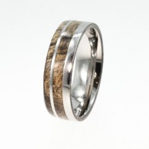 wedding photo - Highly Figured Buckeye Burl Wood Band, Wooden Wedding Ring, Titanium Pinstripes, Ring Armor Included
