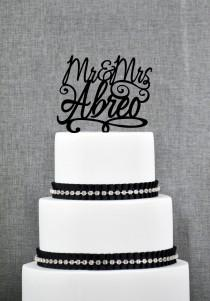 wedding photo - Script Mr and Mrs Last Name Wedding Cake Topper, Personalized Script Cake Topper, Elegant Custom Mr and Mrs Wedding Cake Topper - (S149)