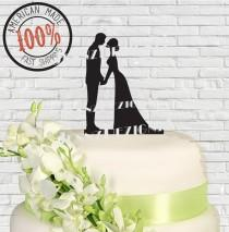 wedding photo - Silhouete Bride and Groom with Pets Wedding Cake Topper#525 MADE In USA…..Ships from USA